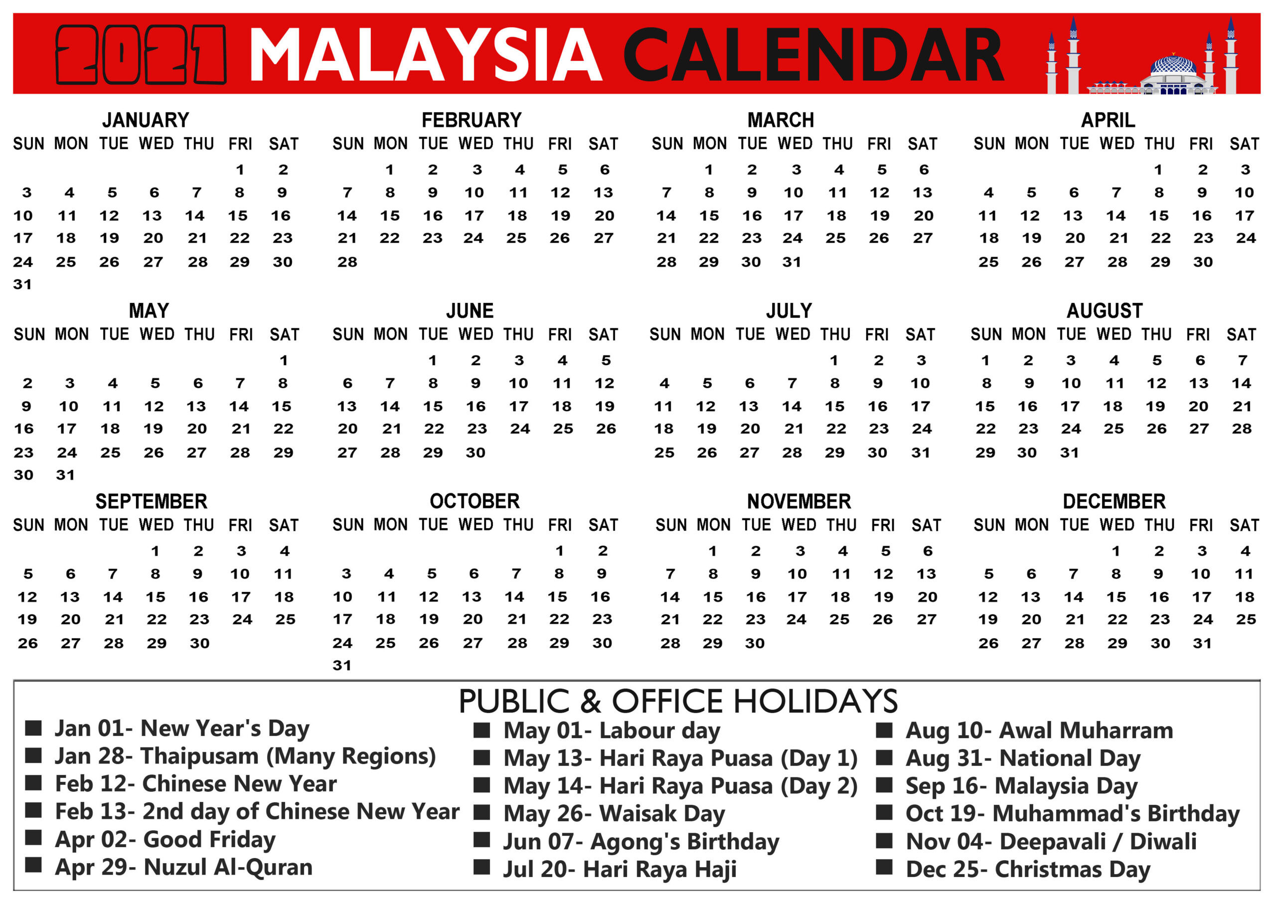 Printable Malaysia 2021 Calendar With Holidays & Observation-2021 Calendard For Vacation Schedule