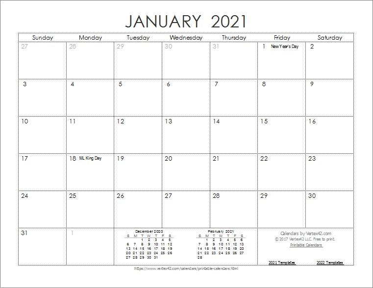 Printable Monthly Calendar 2021 Big Font Free Usage   Free-2021 Free 12 Month Printable Monthly Calendar