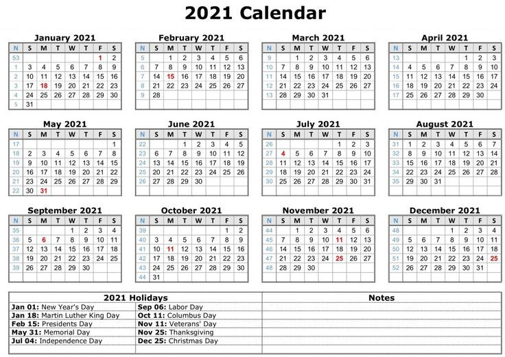 Printable Monthly Calendar: Download Printable 2021-2021 Office Vacation Calendar Examples
