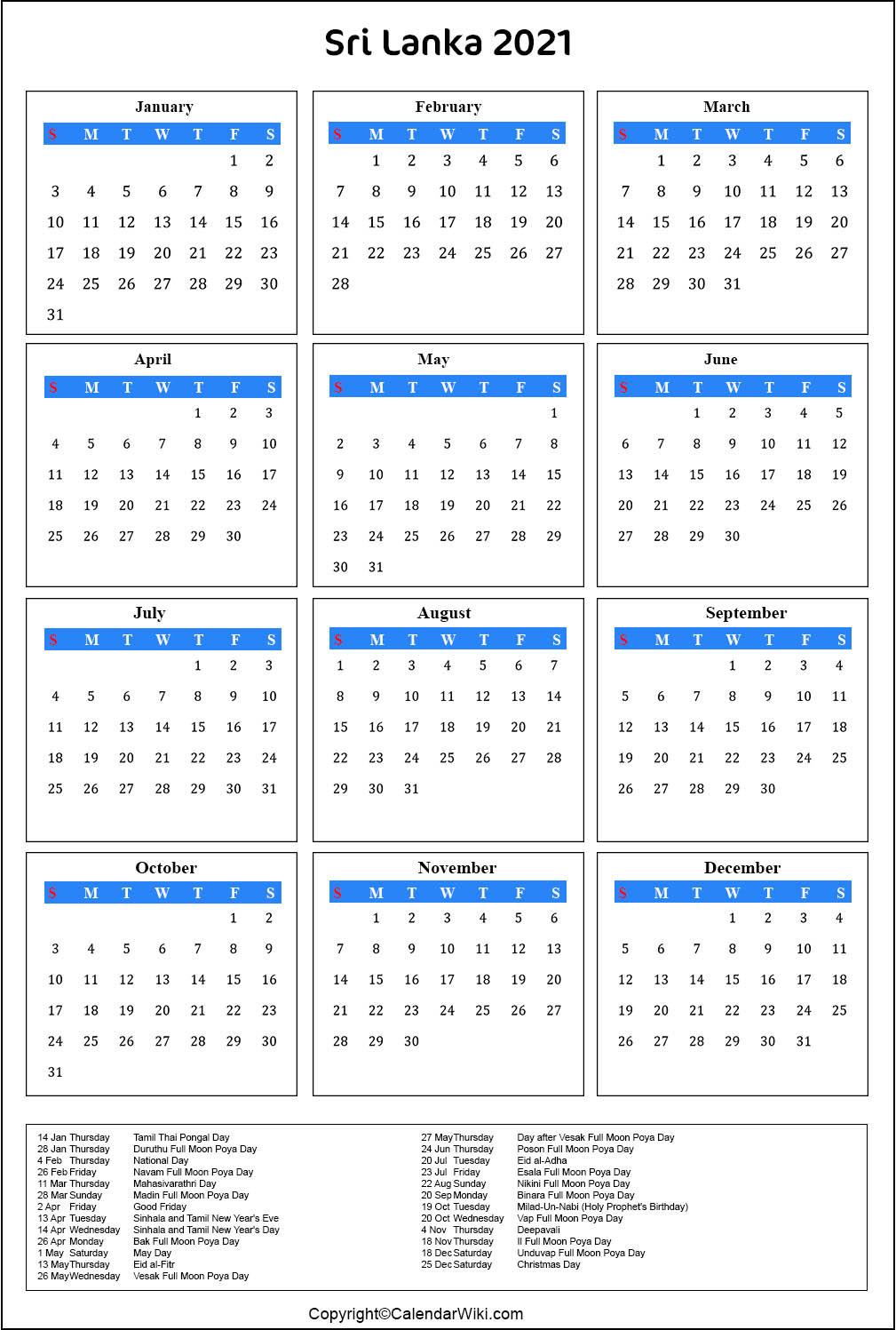 Printable Srilanka Calendar 2021 With Holidays [Public-Mercantil Holidays For 2021 Sri Lanka
