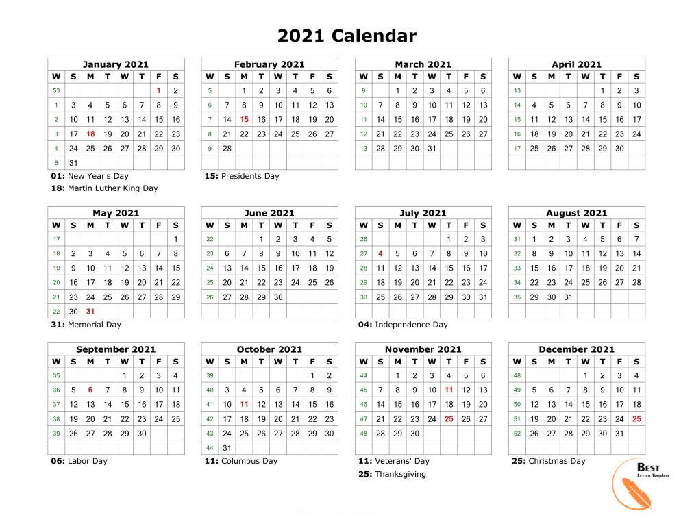 Printable Yearly 2021 Calendar Template In Pdf, Word & Excel-Printable Month To Month Calendar 2021