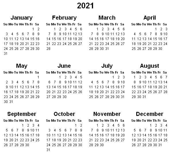 Printable Yearly Calendar 2021 « Printable Hub-Free Printable Downloadable Yearly Calendar 2021