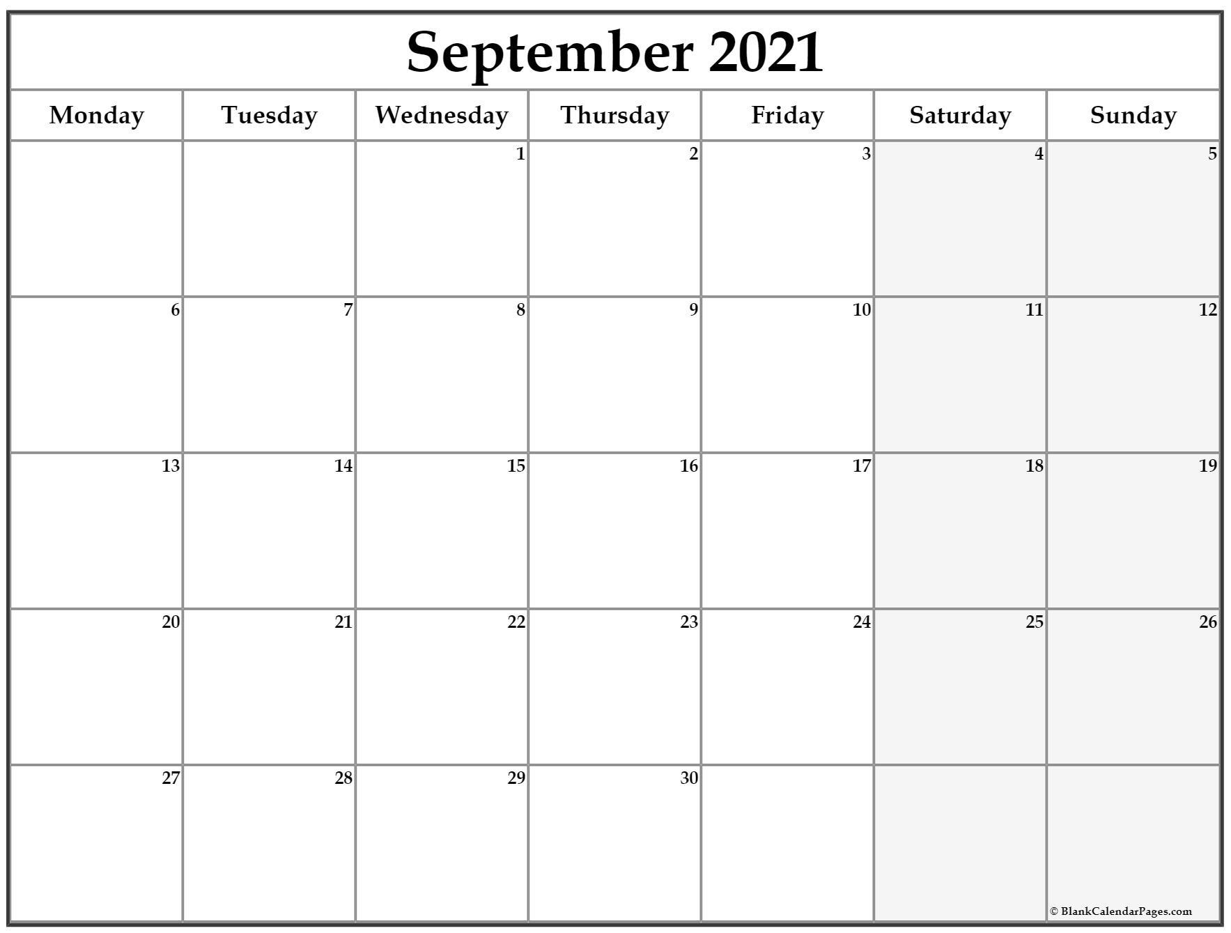 September 2021 Monday Calendar | Monday To Sunday-August 2021 Calendar Monday Through Friday Only