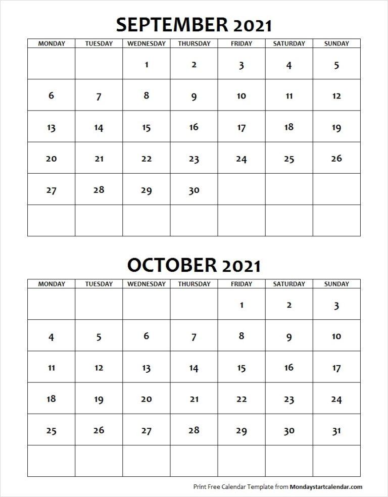 September October 2021 Calendar Monday Start | Two Months Template-October Monday Thru Friday Calendar 2021