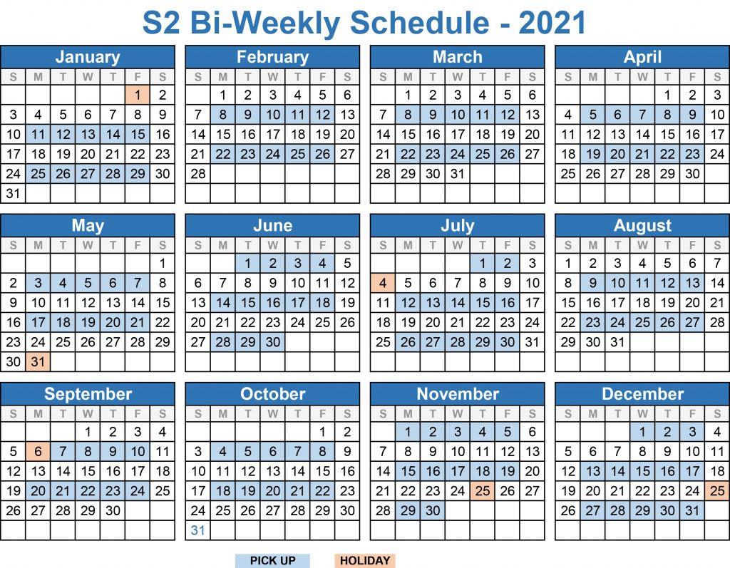 Service Schedules 2021 | S2 Roll-Offs-Bill Payment Calendar 2021