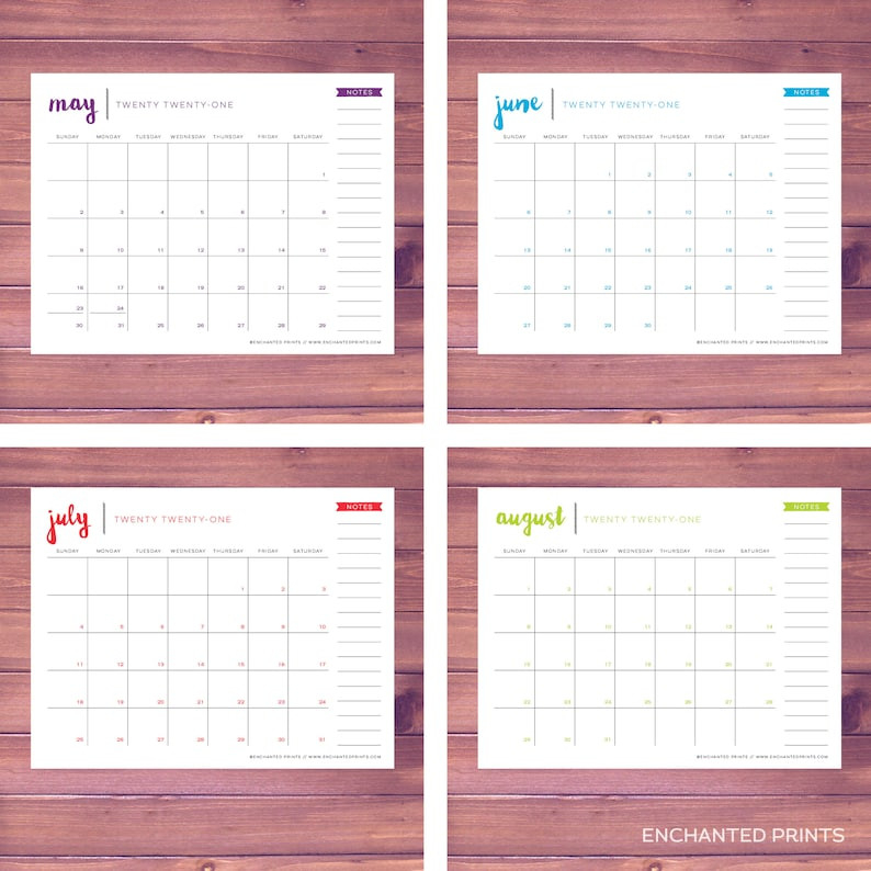 Simple 2021 Printable Calendar 12 Month Calendar Grid   Etsy-2021 81/2 By 11 Attendance Calendar Template