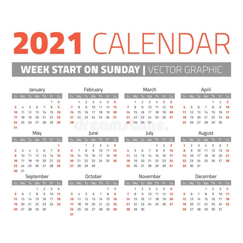 Simple 2021 Year Calendar Stock Vector. Illustration Of-4 X 6 Calendars 2021