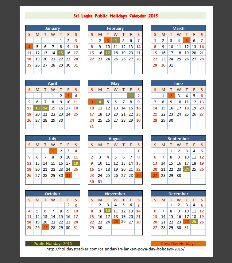 Sri Lanka Public Holidays 2015 - Holidays Tracker-Mercantile Holidays 2021 Srilanka