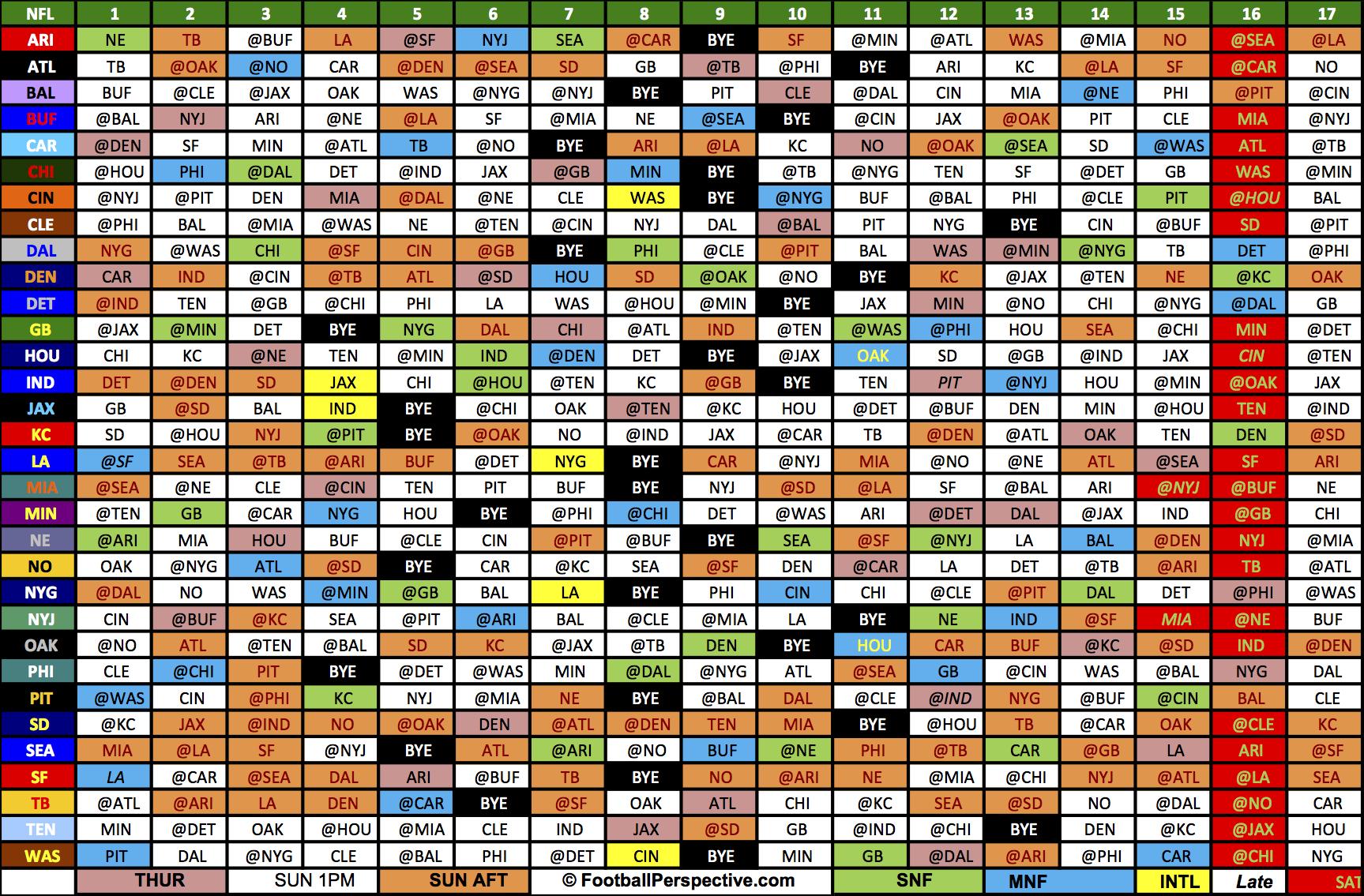 The 2016 Nfl Schedule-Printable 2021 Full Nfl Schedule