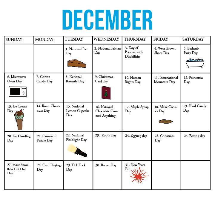 The Kirkwood Call | Fun National Holiday Calendar: December-National Food Days 2021 Printable