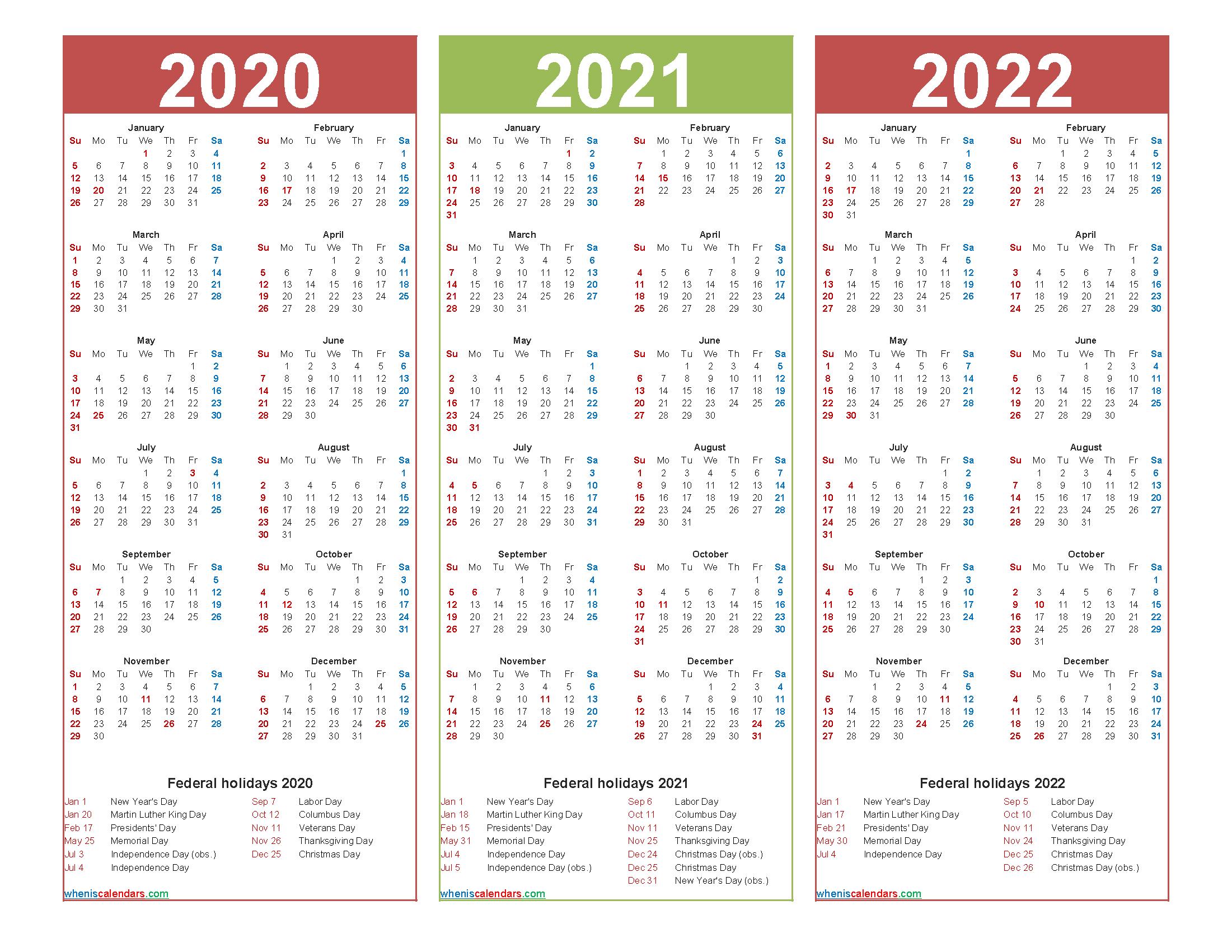 Three Year 2020 To 2022 Calendar Printable Word, Pdf-2021 2022 2023 Printable Calendar