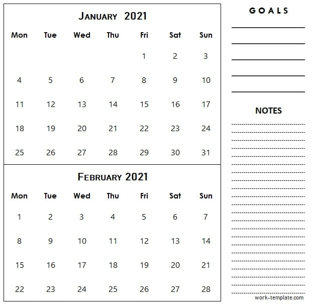Two Month January February 2021 Calendar Template With-National Food Days 2021 Printable