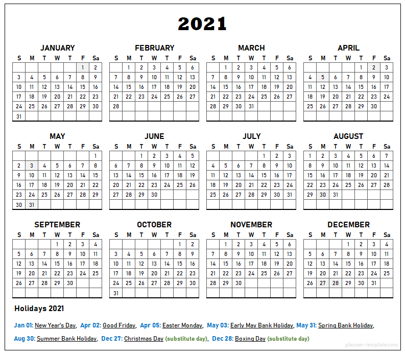 Uk Holiday 2021 Calendar Template - School, Bank, Public-2021 Office Vacation Calendar Examples