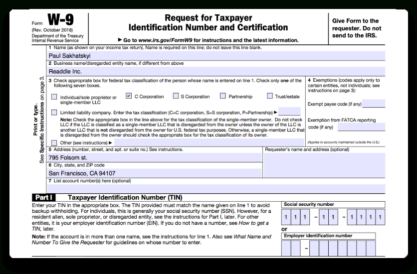 W9 2018 Printable | Tutore - Master Of Documents-2021 W9 Blank Form