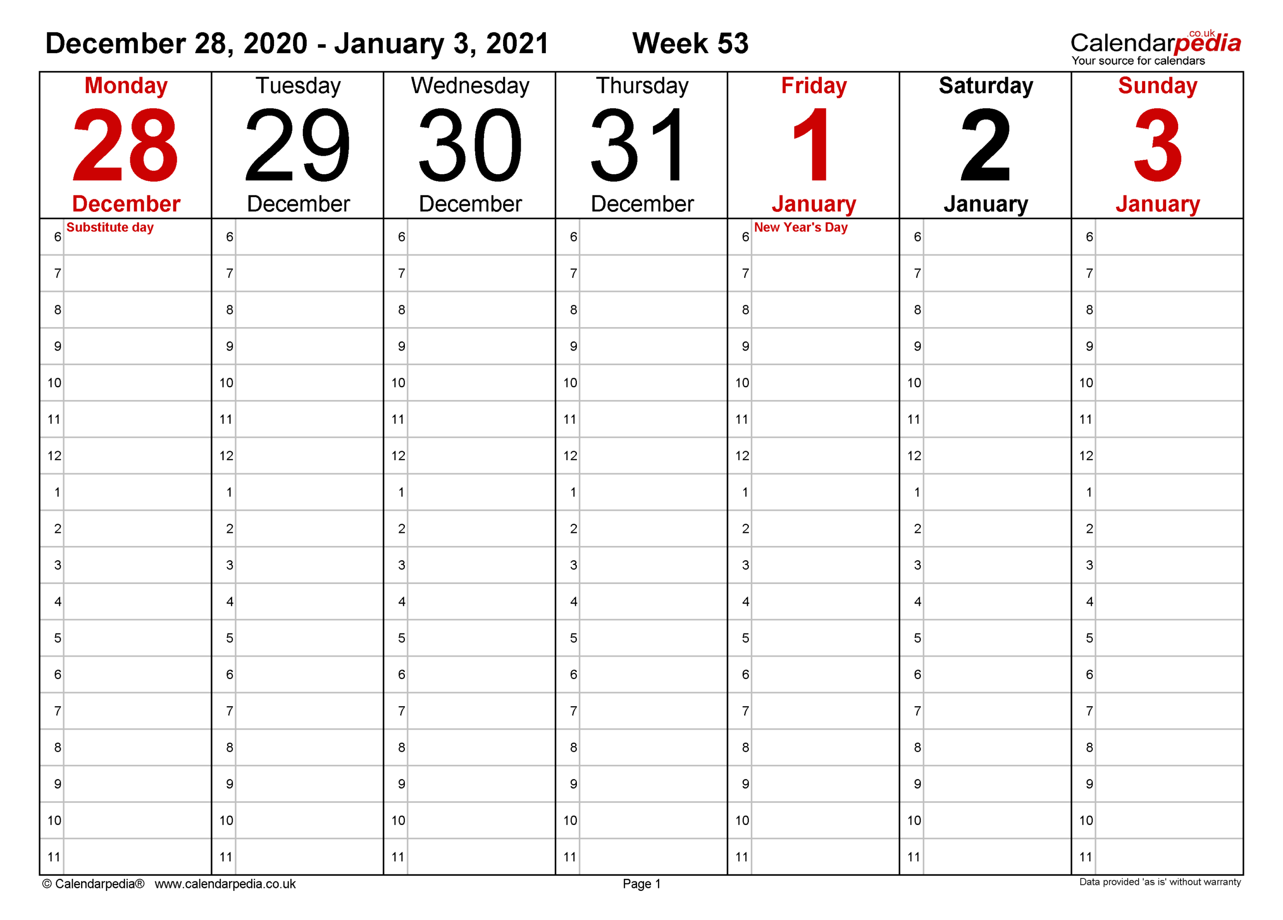 Weekly Calendar 2021 Uk - Free Printable Templates For Pdf-Microsoft Word Calendar Template 2021